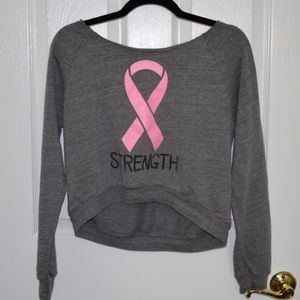 Breast Cancer Strength Cropped Thin Sweatshirt